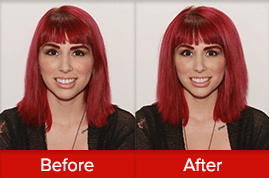 Before and after image of red headed lady with huge hair volume after using the VOLOOM volumizing iron