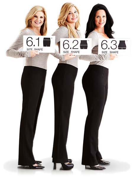 These three women are all the same size but different shape. Shown here is the Classic Straight Cut.