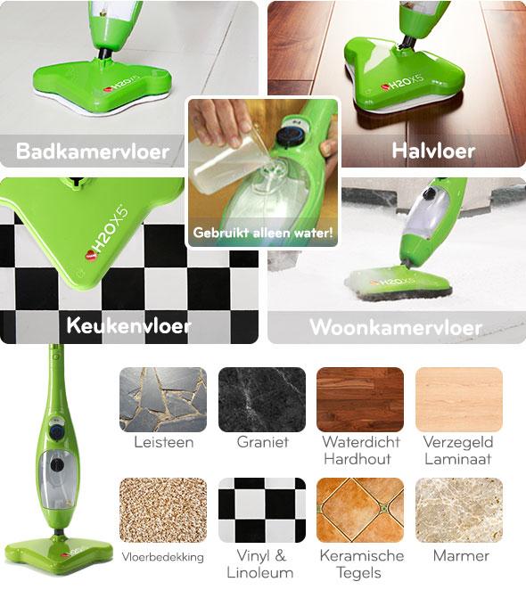 H2O X5 - Verwijder vuil en vlekken uit allerlei type vloeren