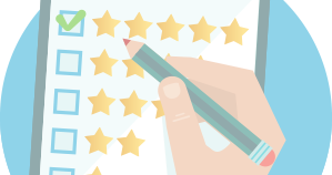 customer review background five star checked