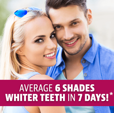 Average 6 shades whiter in 7 days*