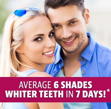 Average 6 shades whiter in 7 days*